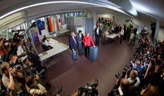 Angela Merkel bei der Wahl (Foto)