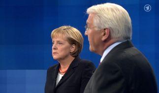 Angela Merkel (CDU) und Frank-Walter Steinmeier (SPD) beim TV-Duell (Foto)