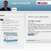 Die gehackte Seite des CDU-Politikers.