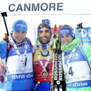 (v.l.n.r.) Anton Shipulin, Martin Fourcade und Simon Schempp konnten in Kanada bereits überzeugen. (Foto)