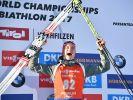 Benedikt Doll wird überraschend Biathlon-Weltmeister im Sprint in Hochfilzen. (Foto)