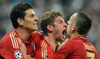 Bestie Bayern: Thomas Müller (Mitte) und Kollegen sezierten Barcelona. (Foto)