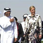 Bettina Wulff beim Staatsbesuch in Katar. Die Titanic lässt sie jetzt einen Mohammed-Film drehen.