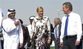 Bettina Wulff beim Staatsbesuch in Katar. Die Titanic lässt sie jetzt einen Mohammed-Film drehen. (Foto)