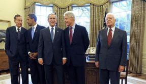 Bush-Abschied mit Obama, Clinton und Carter (Foto)