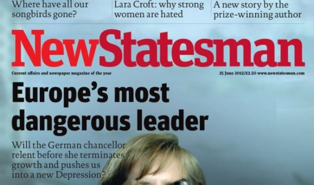 Das Titelbild des Magazins New Statesman zeigt Merkel in Terminator-Maskierung. (Foto)