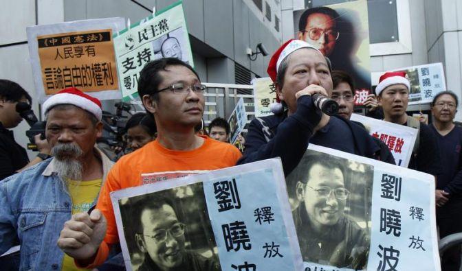 Demonstranten fordern in Hongkong die Freilassung von Bürgerrechtler Liu Xiaobo. (Foto)