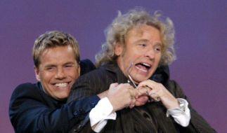Den ersten gemeinsamen Arbeitstag für Das Supertalent 2012 haben Dieter Bohlen und Thomas Gottschalk erfolgreich hinter sich gebracht. (Foto)
