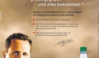 Die Anzeige, mit der Rosbacher-Mineralwasser in der März-Ausgabe der Schiri-Vereinigung Frankfurt warb. (Foto)