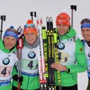 Die Biathlon-Herren möchten in der Staffel endlich auch aufs Podium laufen. (Foto)