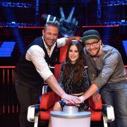 """Die Coaches von """"The Voice Kids"""": Mark Forster (r.), Lena Meyer-Landrut (M.) und Sasha (l.). (Foto)"""