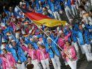 Die deutschen Olympioniken wurden von Hockey-Spielerin Natascha Keller angeführt. (Foto)