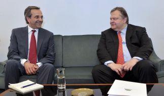Differenzen überbrückt und Koalition gebildet: Die Parteibosse Antonis Samaras (Neue Demokratie) und Evangelos Venizelos (Pasok). (Foto)