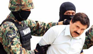 """Drogenboss """"El Chapo"""" bei seiner Festnahme. 2015 schaffte er es, aus dem Knast auszubrechen. (Foto)"""