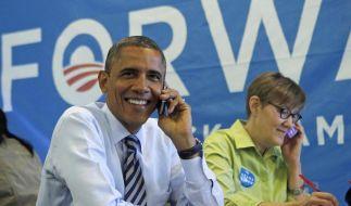 Ein sichtlicht gut gelaunter Barack Obama: Er kann als US-Präsident weiterregieren. (Foto)