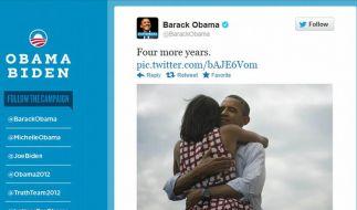 Ein Bild geht um die Welt: Nie zuvor hat eine Wahl derart hohe Wellen im Netz geschlagen wie das Rennen ums Weiße Haus. (Foto)