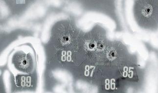 Einschüsse 85 bis 89: Insgesamt 113 Kugeln hatte Tim K. bei seinem Amoklauf verballert. (Foto)