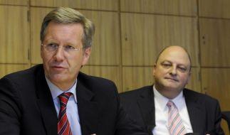 Einst enge Vertraute: Ex-Bundespräsident Christian Wulff (links) und sein Ex-Sprecher Olaf Glaeseker. (Foto)