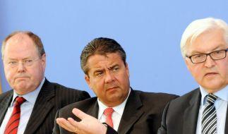 Ene, mene, muh, und raus bist du! Wer wird die K-Frage für sich entscheiden: Steinbrück, Gabriel oder Steinmeier (von links)? (Foto)