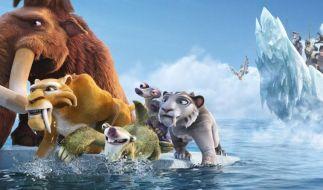 Faultier Sid, Mammut Manni und Säbelzahntiger Diego müssen in Ice Age 4 - Voll verschoben wieder spannende Abenteuer bestehen. Am 2. Juli kommt der Streifen in die Kinos. (Foto)