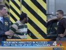 Fernsehbilder zeigen, wie einer der Terrorverdächtigen abgeführt wird. (Foto)