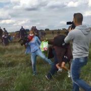 Nach Angriff auf Ungarn-Flüchtling! Brutalo-Kamerafrau tritt nach (Foto)