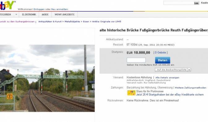 Fußgängerbrücke bei Ebay zu ersteigern (Foto)