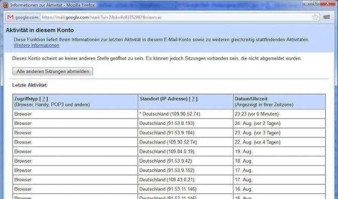 Google Mail auf verdächtige Aktivitäten überprüfen (Foto)