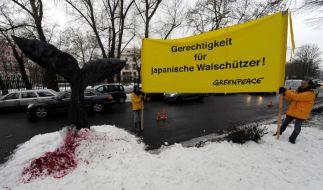 Greenpeace-Aktivisten demonstrieren vor der japanischen Botschaft in Berlin (Foto)