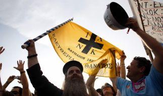 Griechische Demonstranten (Foto)