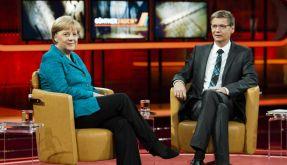 Günther Jauch mit Angela Merkel (Foto)