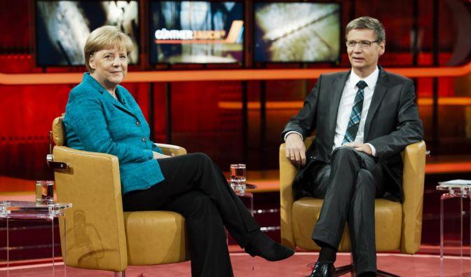 Guenther Jauch mit Bundeskanzlerin Angela Merkel (Foto)