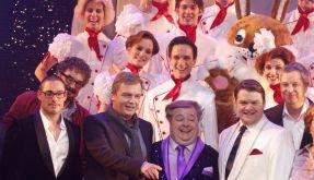 Hape Kerkeling und Dirk bei der Welturaufführung des Musicals Kein Pardon von Kerkeling im Capitol-Theater. (Foto)