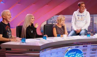 In der zweiten Show stellten sich neue Kandidaten den Juroren H.P. Baxxter, Shirin David, Michelle und Dieter Bohlen (von links). (Foto)