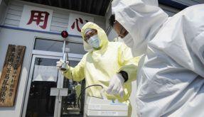 In Strahlenschutzkleidung und mit Messegerät: Helfer im verseuchten Evakuierungsgebiet (Foto)