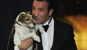 Jean Dujardin holds Uggie after accepting the Oscar for best picture  for  (Foto)