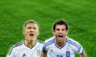 Kampf der Fußball-Welten: DFB-Künstler Bastian Schweinsteiger gegen Griechen-Zerstörer Kostas Katsouranis. (Foto)