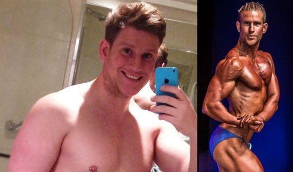 Kaum zu glauben, dass auf beiden Bildern der selbe Mann zu sehen ist. Sebastian David machte in kurzer Zeit eine extreme Body-Transformation durch. (Foto)