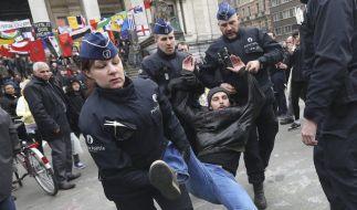 Krawalle bei Menschenrechts-Demonstrationen in Brüssel. (Foto)