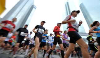 Läufer beim Marathon in Frankfurt: Das Runner's High tritt nach einer Weile beim Sport auf und versetzt die Läufer in einen (Foto)