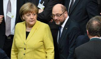 Merkel ist laut Umfragen wieder gleichauf mit Martin Schulz. (Foto)