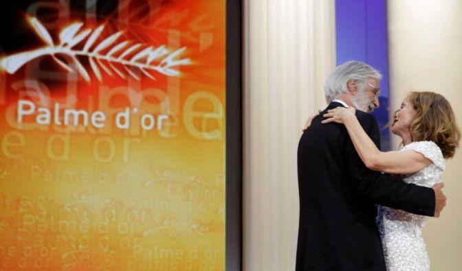 Michael Haneke und die Vorsitzende der Jury von Cannes, Isabelle Huppert. (Foto)