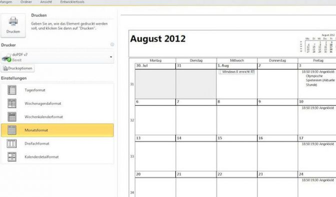 Monats-Kalender drucken mit Microsoft Outlook (Foto)