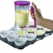 Muffins backen ohne Teigspritzer - der Teigportionierer macht's möglich.