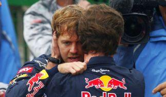 Muss sich Vettel an den WM-Titel krallen wie an die Jacke von Teamchef Christian Horner? (Foto)