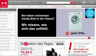 Neckermann.de beweist schwarzen Humor und hat die eigene Insolvenz in sein Marketing integriert. (Foto)