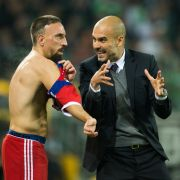 Nicht die besten Freunde: Franck Ribéry mit seinem ehemaligen Trainer Pep Guardiola. (Foto)