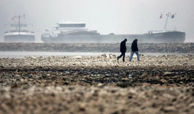 Niedrigwasser im Rhein brockt Schifffahrt Pause ein (Foto)