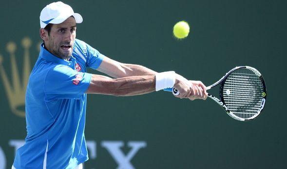 Novak Djokovic gegen Milos Raonic (Kanada) im Finale der Männer bei den BNP Paribas Open in Indian Wells am 20. März 2016. (Foto)