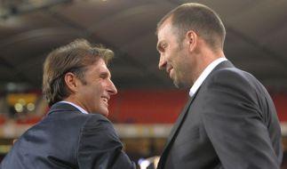 Ob sich diese beiden auch noch im Rückspiel begegnen, darf bezweifelt werden: Bruno Labbadia (links) und Markus Babbel. (Foto)